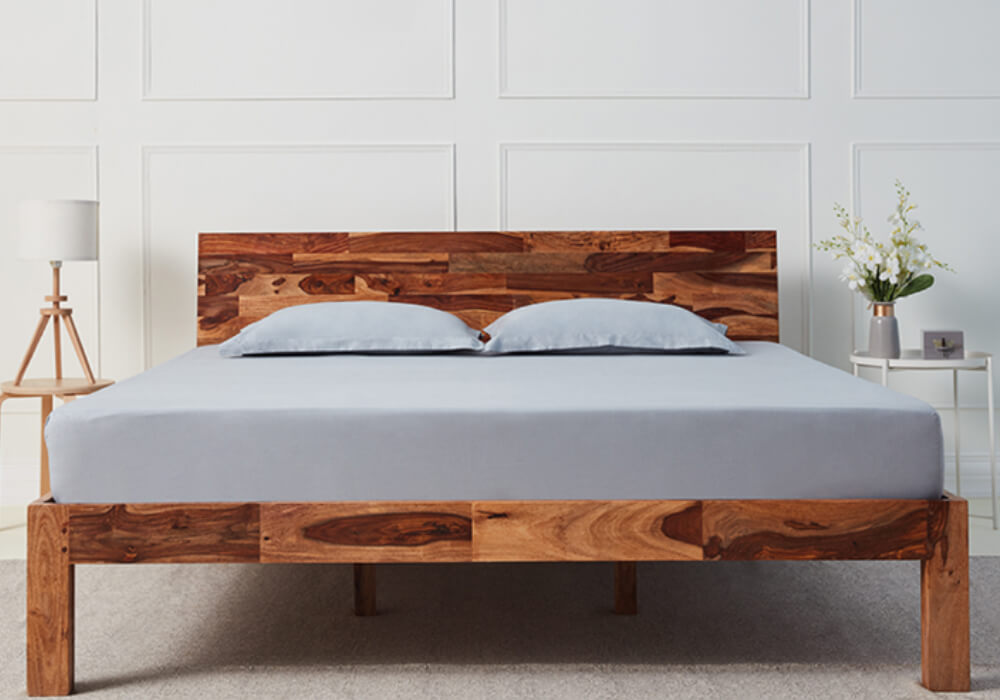 Wooden bed without storage