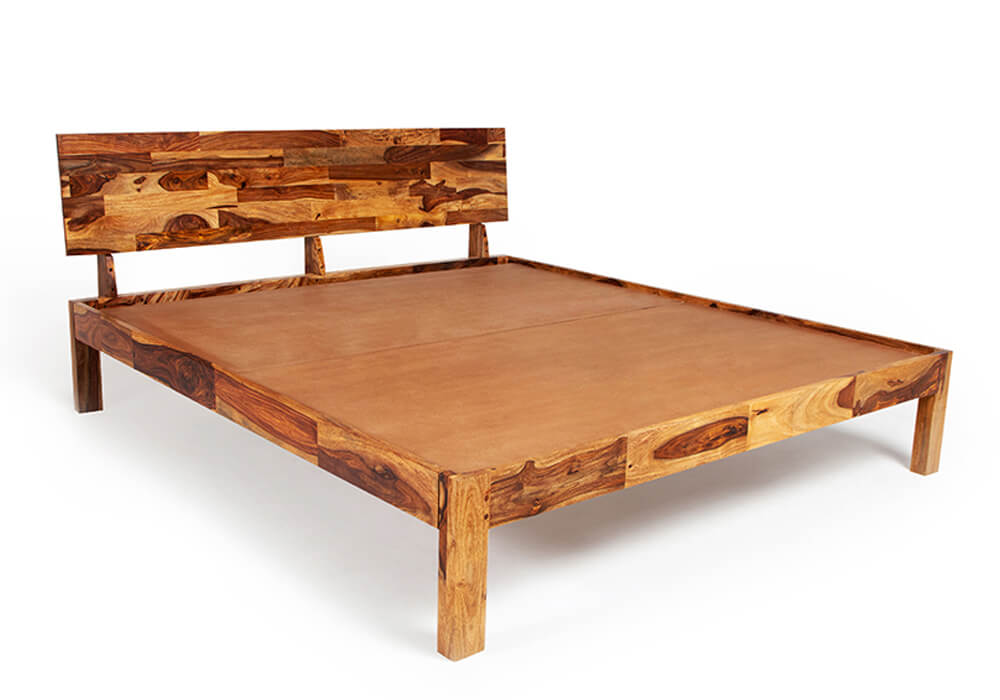 Wooden double bed without storage