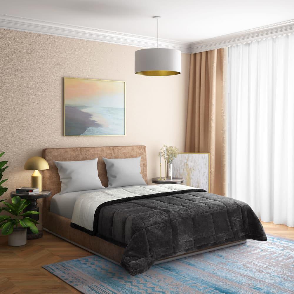 Wakefit Tenzing Sherpa Blanket (Charcoal Grey) (84*100 inch) / (2.13m*2.54m)
