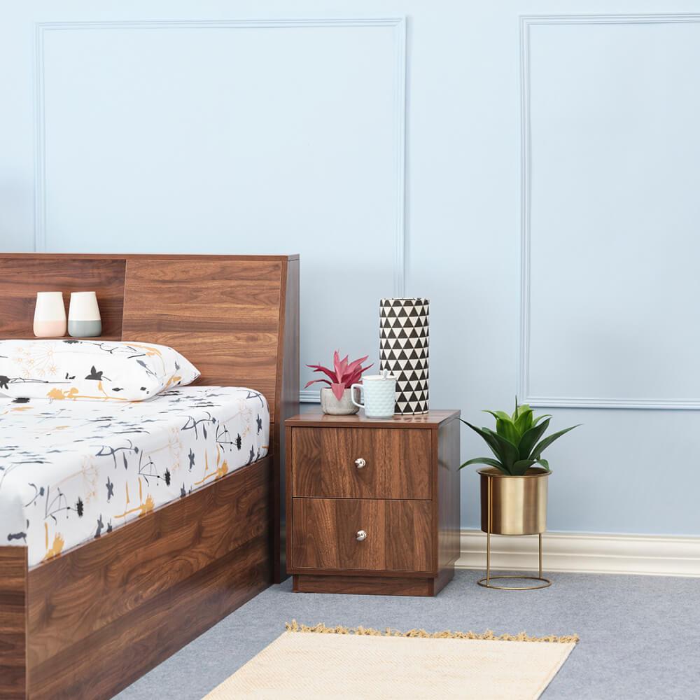 Wakefit Elara Double Drawer Bedside Table