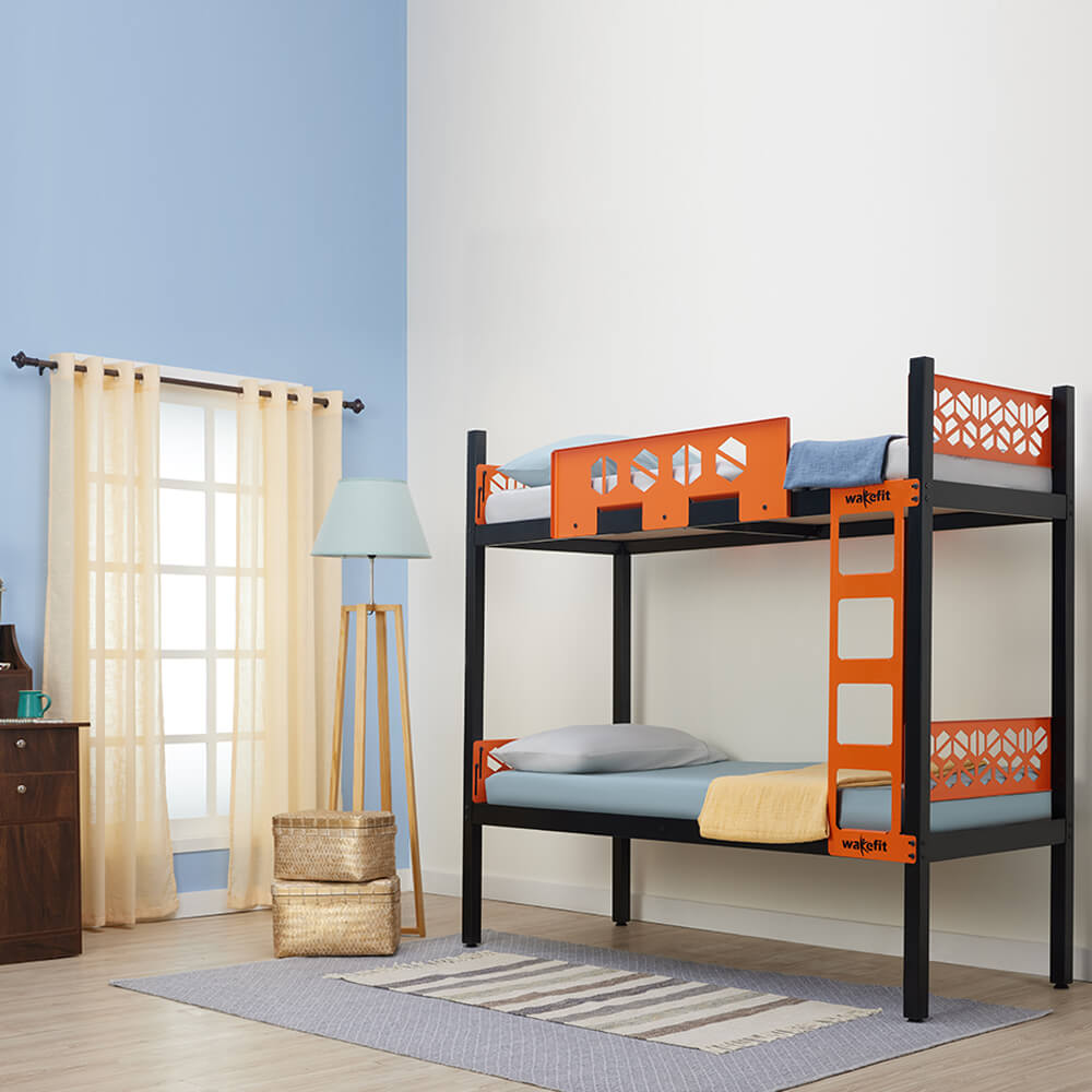 Wakefit Gemini Metal Bunk Bed Single (Orange and Black)