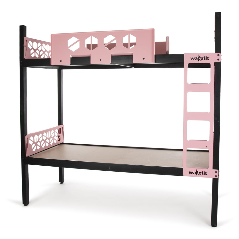 Wakefit Gemini Metal Bunk Bed Single (Pink and Black)