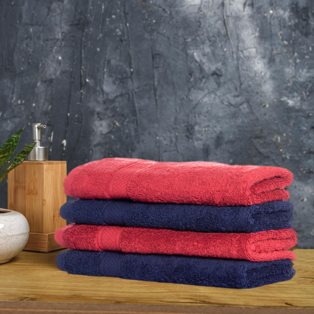 Wakefit Terry Premium Hand Towel Set of 4 (100% cotton, 500 GSM, Chilli Pepper & Navy Blue)