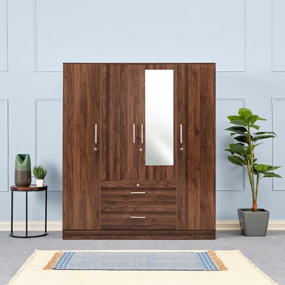 Wakefit Organza 4 door Wardrobe with Middle Drawers and Mirror