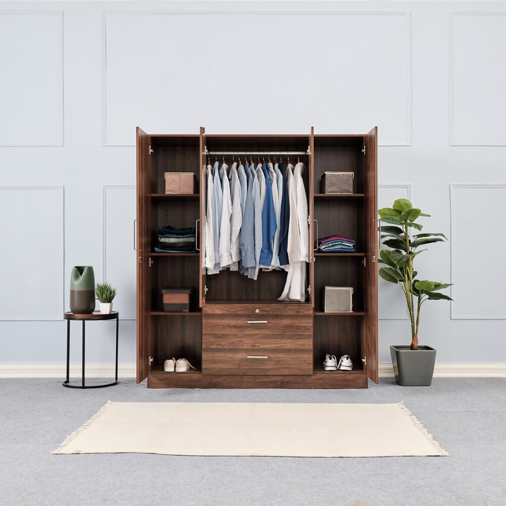 Wakefit Organza 4 Door Wardrobe With Middle Drawers
