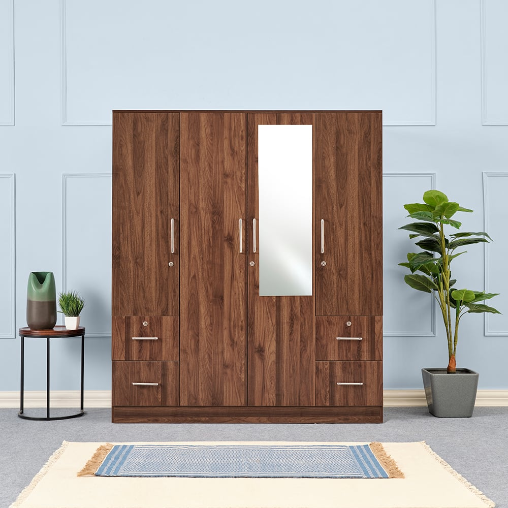Wakefit Plaid 4 door Wardrobe with Side Drawers and Mirror