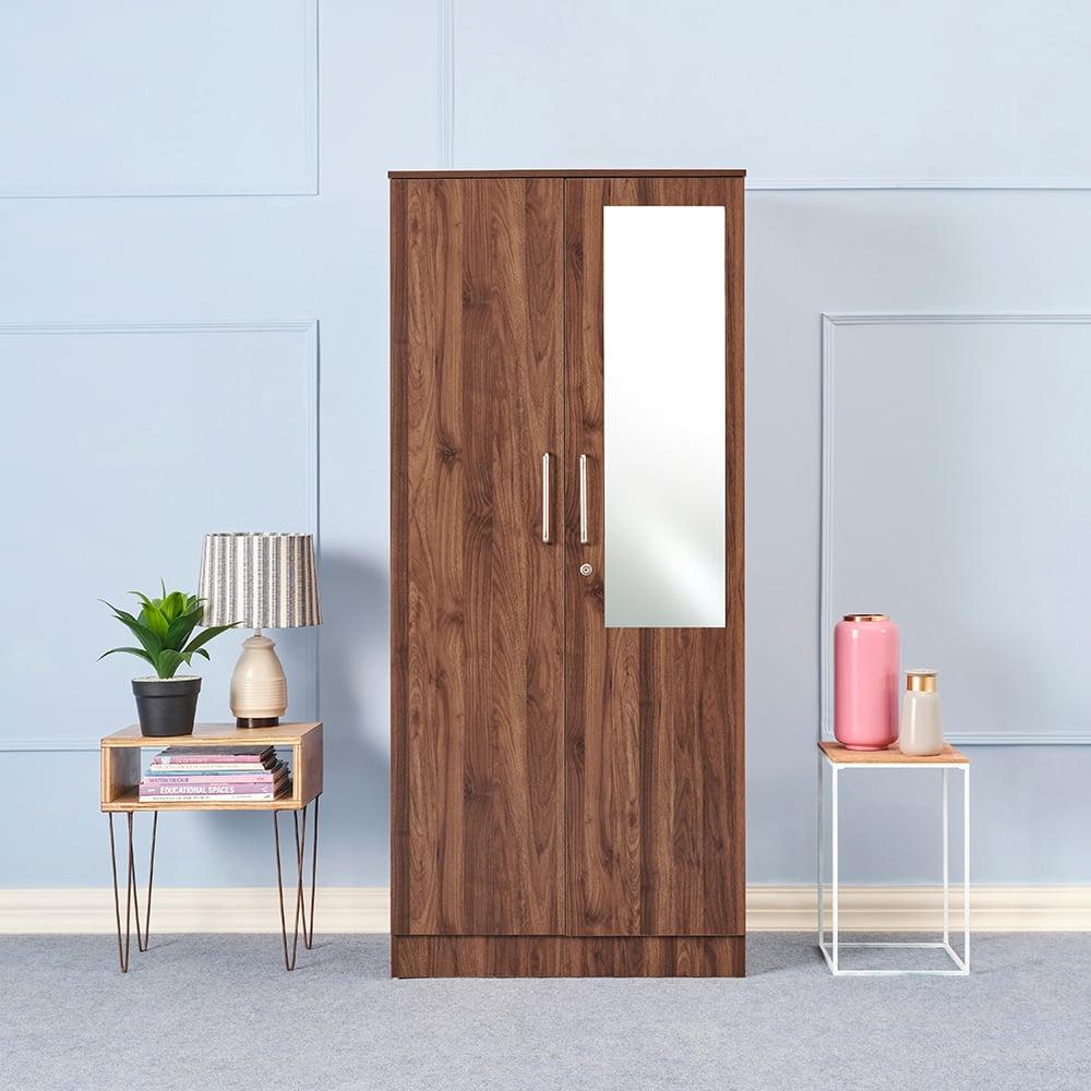 Wakefit Tartan 2 Door Wardrobe with drawer and mirror