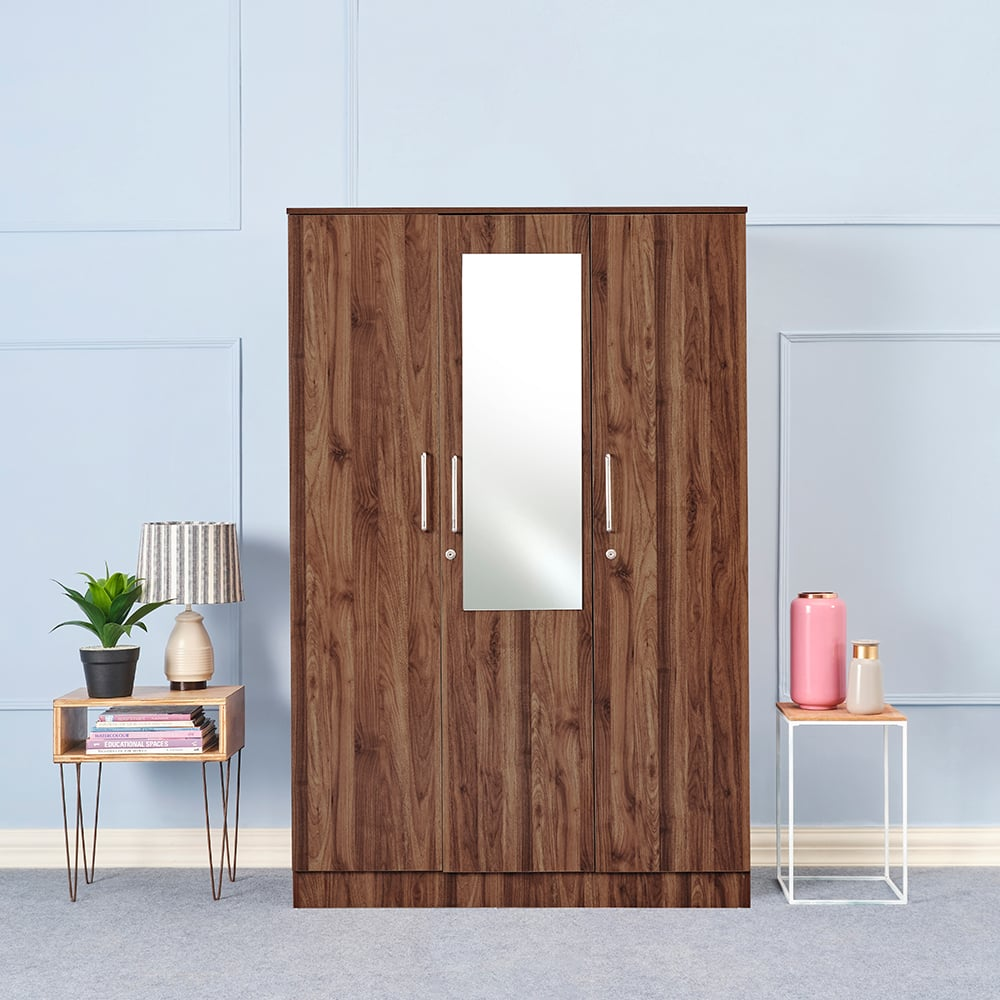 Wakefit Tartan 3 Door Wardrobe with drawer and mirror