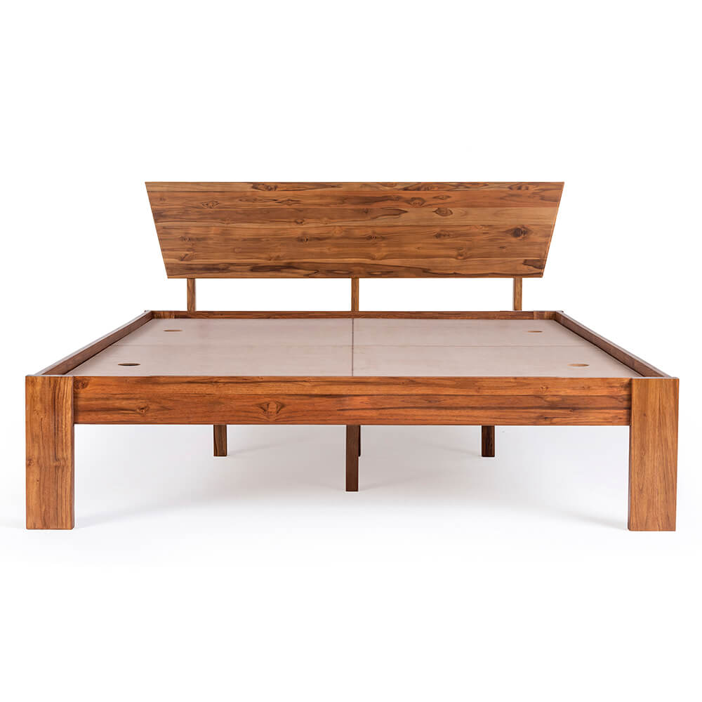 Wakefit Ara Teak Wood Bed <br> <small>(Queen Size Bed & also available with storage)</small>