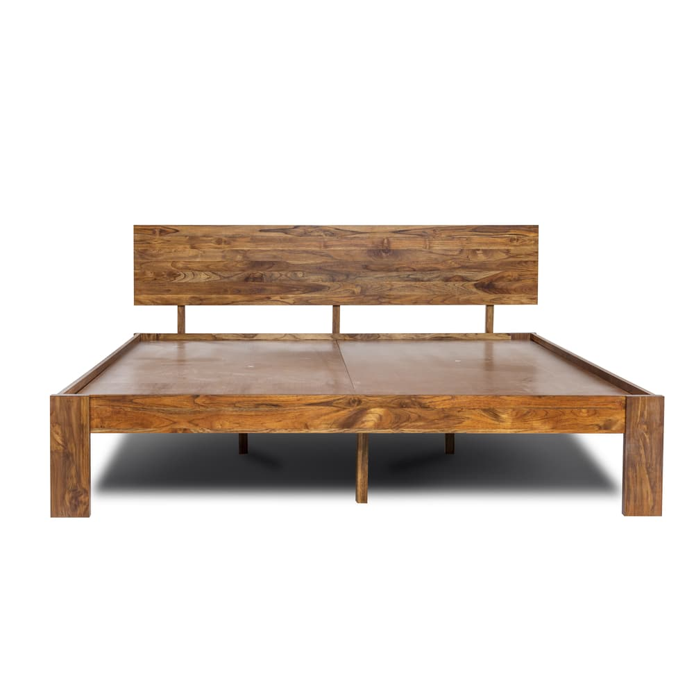 Wakefit Indus Teak Wood Bed Without Storage