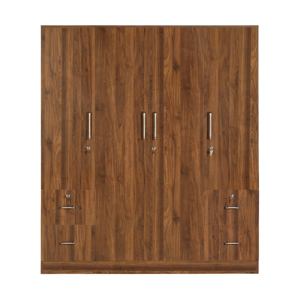 Plaid 4 door wardrobe with drawer