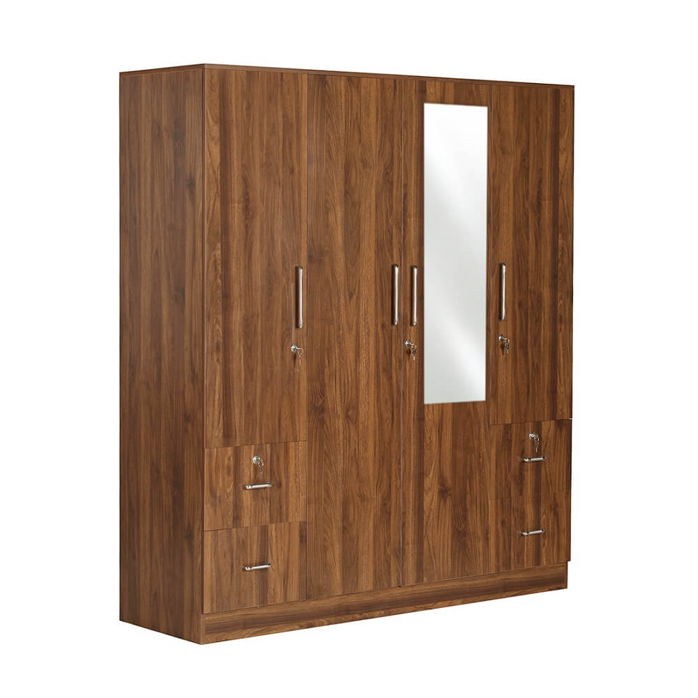 Plaid 4 door wardrobe with drawer